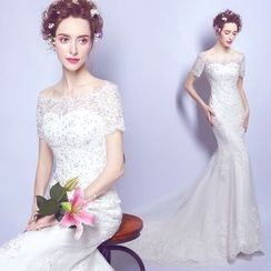 Angel Bridal - Short-Sleeve Sheath Mermaid Wedding Dress