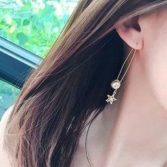 Jael - Pearl Star Drop Earrings