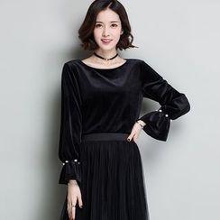 Romika - Bell-Sleeve Velvet Sweatshirt