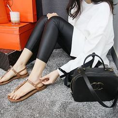 MARSHMALLOW - Maternity Faux-Leather Cropped Leggings