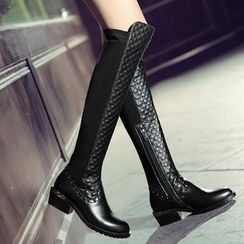 Kireina - Genuine-Leather Quilted Tall Boots