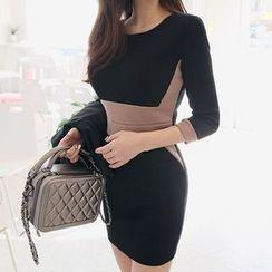 Seoul Fashion - Contrast-Trim Body-Shaper Mini Dress