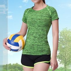 Delico - Set: Sport Bra Top + Short-Sleeve T-Shirt + Shorts
