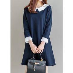 J-ANN - Contrast-Trim A-Line Dress