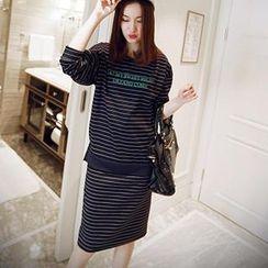 Sunny House - Set: Striped Printed Top + Drawstring Midi Skirt