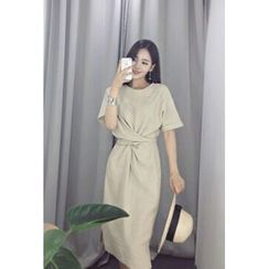 ATTYSTORY - Elbow-Sleeve Tie-Waist Midi Linen Dress