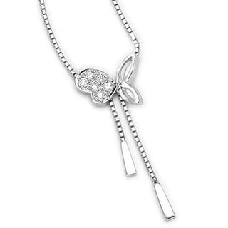 MaBelle - 18K White Gold Pave Round Diamond Butterfly Lariat Necklace (0.05 ct) (FREE 925 Silver Box Chain, 16')