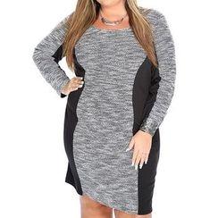 Dream a Dream - Long-Sleeve Color Block Sheath Dress