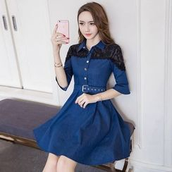 Cherry Dress - Lace Panel Shirtdress