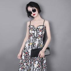 Sonne - Cutout-Waist Printed A-Line Dress