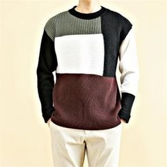 THE COVER - Color-Block Wool Blend Rib-Knit Top