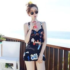 Dolfin - Set: Printed Tankini Top + Swim Skirt