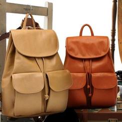 Pandabada - Faux Leather Drawstring Backpack