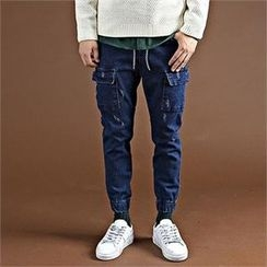 THE COVER - Drawstring-Waist Cargo-Pocket Trim Denim Pants