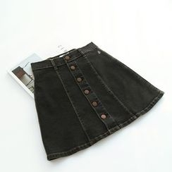 Bonbon - Buttoned A-Line Denim Skirt