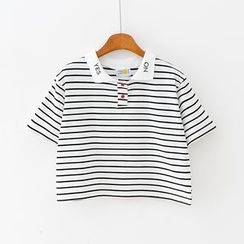 Sunny Day - Short-Sleeve Striped Cropped Polo Shirt