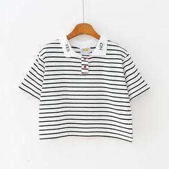 Sunny Day - 短袖條紋短款馬球衫