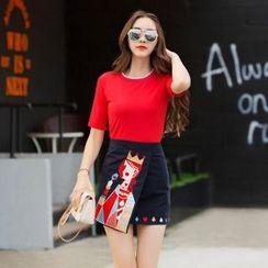 Amella - Set: T-Shirt + Embroidered Skirt