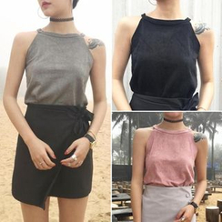 Moon City - Faux Suede Sleeveless Top