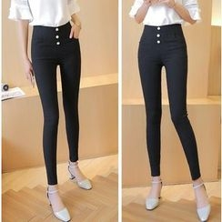 Jenny's Couture - Buttoned Skinny Pants