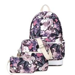 VIVA - Set of 3: Floral Print Backpack + Crossbody Bag + Pouch