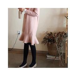 LEELIN - Furry Wool Blend Knit Dress
