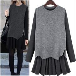 VIZZI - Set: Long-Sleeve Pleated Dress + Knit Vest