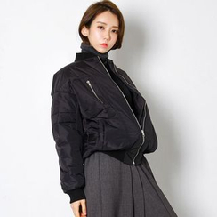 FASHION DIVA - Zip-Pocket Padded Flight Jacket