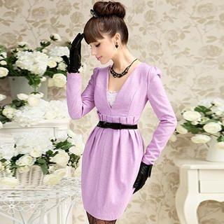 Dabuwawa - Wool-Blend Long-Sleeve Sheath Dress