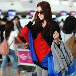 SO Central - Wool-Blend Color-Block Batwing Sweater
