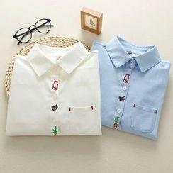 Mushi - Embroidered Oxford Shirt