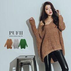 PUFII - V領寬版針織上衣毛衣