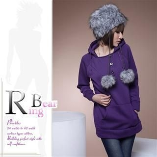 RingBear - Button Front Plain Long Hoodie