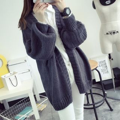 Qimi - Drop-shoulder Long Cardigan