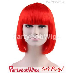 Party Wigs - PartyBobWigs - Party Short Bob Wig - Neon Red