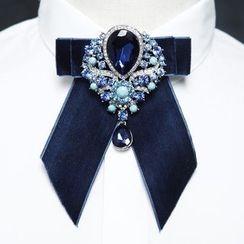 Fourthomme - Embellished Velvet Bow Tie