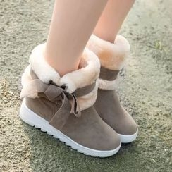 Yoflap - Ribbon Accent Snow Boots