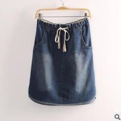 Rosadame - Drawstring Denim Skirt