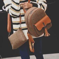 Tasche - Set : Tasseled Knit Backpack + Shoulder Bag
