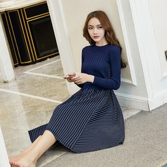 Ebbie - Mock Two Piece Striped Panel Long Sleeve Knit Dress