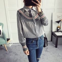 efolin - Knit Panel Striped Long Shirt