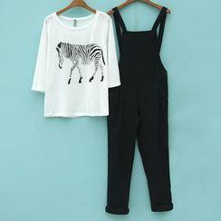 Lina Cota - 套装: 斑马印花七分袖T恤 + 背带连衣裤