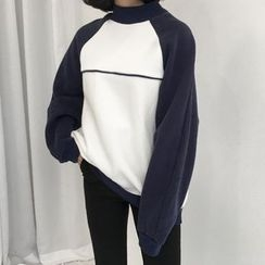 Dute - Two Tone Mock Neck Pullover