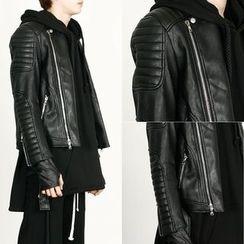 Rememberclick - Faux-Leather Biker Jacket