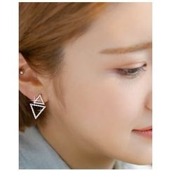 Miss21 Korea - Rhinestone Dual-Tringle Earrings
