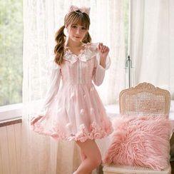 糖果雨 - 拼接長袖連衣裙