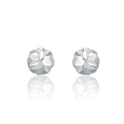 MaBelle - 14K White Gold Dainty Ball with Cutting Stud Earrings