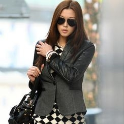 SO Central - Faux-Leather Panel Blazer