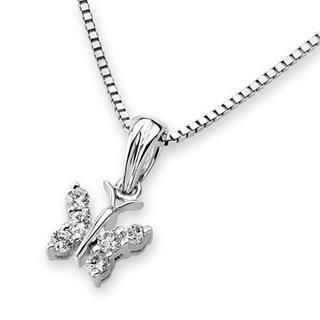 MaBelle - 18K White Gold Butterfly Diamond Accent Pendant Necklace (0.11 cttw) (FREE 925 Silver Box Chain, 16')