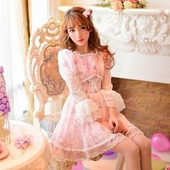 Candy Rain - Long-Sleeve Floral Chiffon Pleated Dress